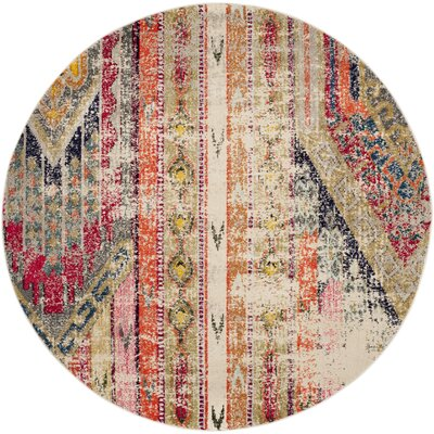 Elston Abstract Multicolor Area Rug Rug Size: Round 67