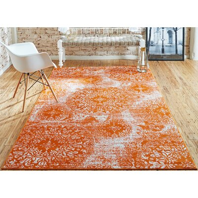 Brandt Orange Area Rug Rug Size: Rectangle 33 x 53
