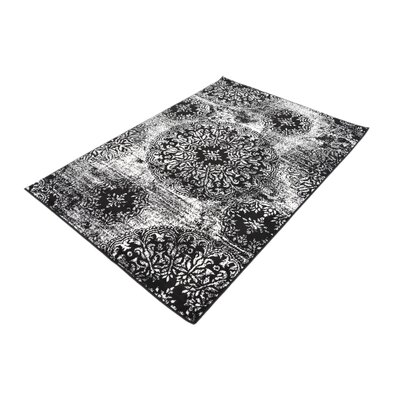 Brandt Black/White Area Rug Rug Size: Rectangle 4 x 6