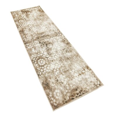 Brandt Brown/Cream Area Rug Rug Size: Runner 2' x 13'