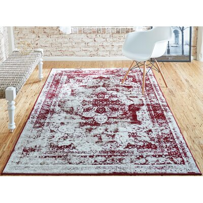 Brandt Red Area Rug Rug Size: Rectangle 5 x 8