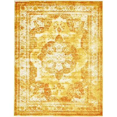 Brandt Yellow/Orange Area Rug Rug Size: Rectangle 9 x 12