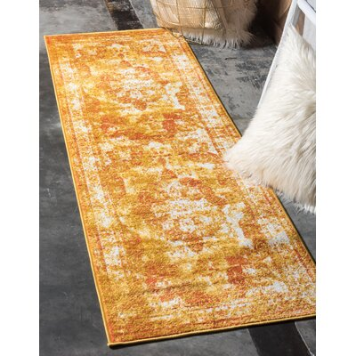 Brandt Yellow/Orange Area Rug Rug Size: Runner 2 x 67