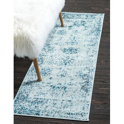 Brandt Light Blue/Ivory Area Rug Rug Size: Runner 2 x 67