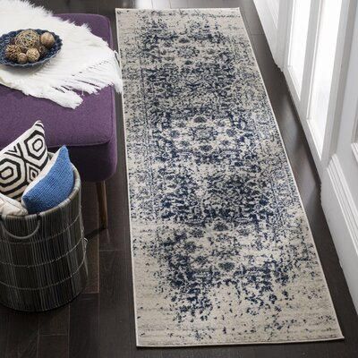 Grieve Cream/Navy Area Rug Rug Size: Runner 23 x 8