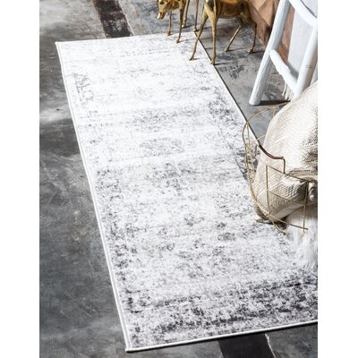 Brandt Machine Woven Gray/Beige Area Rug Rug Size: Rectangle 9 x 12