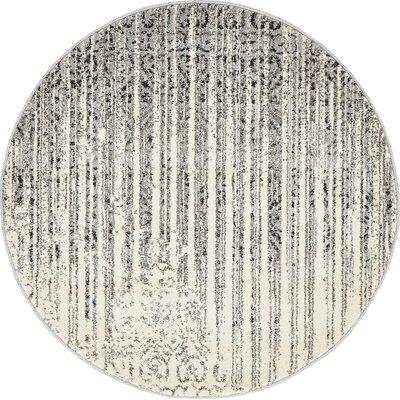 Deniece Gray Area Rug Rug Size: Round 3