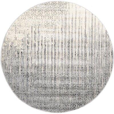 Deniece Gray Area Rug Rug Size: Round 6