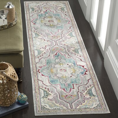 Lulu Floral Gray/Light Blue Area Rug Rug Size: Runner 23 x 8