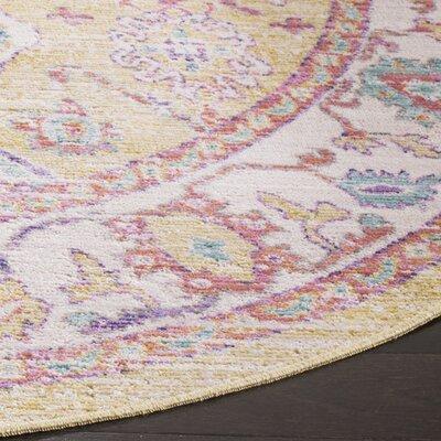 Bangou Yellow & Gold Area Rug Rug Size: Round 6
