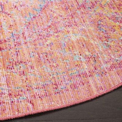 Bangou Pink Area Rug Rug Size: Round 6