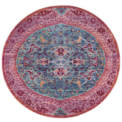 Mellie Red/Pink Area Rug Rug Size: Round 6'