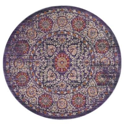 Mellie Beige/Purple Area Rug Rug Size: Round 6