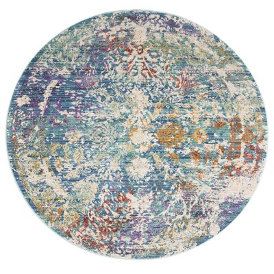 Mellie Green/Beige/Purple Area Rug Rug Size: Round 6