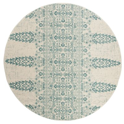 Elson Ivory/Teal Area Rug Rug Size: Round 67