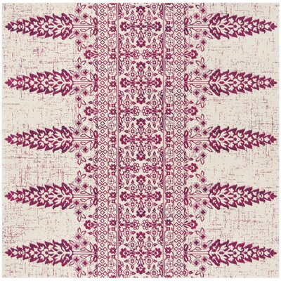 Elson Ivory/Fuchsia Area Rug Rug Size: Square 67