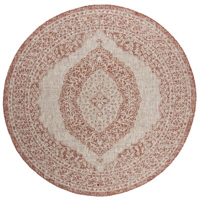 Myers Light Beige/Terracotta Indoor/Outdoor Area Rug Rug Size: Round 67