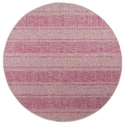 Myers Light Gray/Fuchsia Indoor/Outdoor Area Rug Rug Size: Round 67