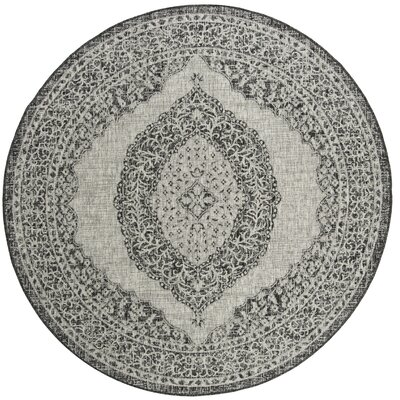 Myers Gray/Black Indoor/Outdoor Area Rug Rug Size: Round 67