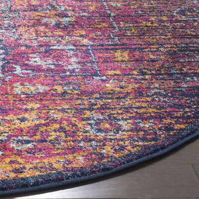 Elson Blue/Fuchsia Area Rug Rug Size: Round 51