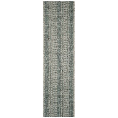 Myers Striped Light Gray/Teal Indoor/Outdoor Area Rug Rug Size: Runner 23 x 8
