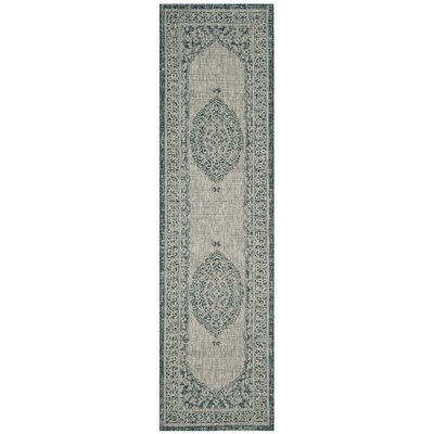 Myers Light Gray/Teal Indoor/Outdoor Area Rug Rug Size: Runner 23 x 8