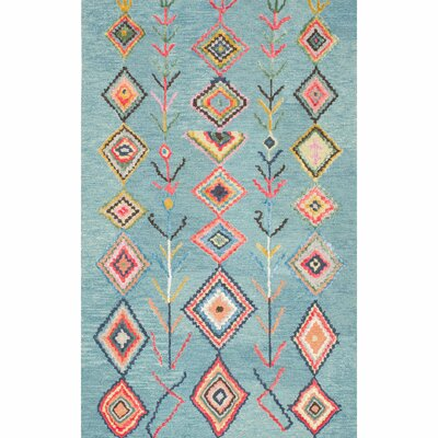 Darvell Hand-Tufted Turquoise Area Rug Rug Size: Rectangle 76 x 96