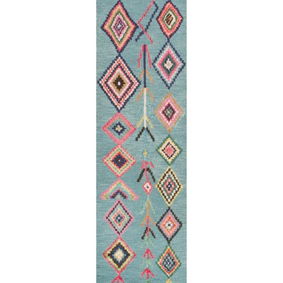 Darvell Hand-Tufted Turquoise Area Rug Rug Size: Runner 26 x 8