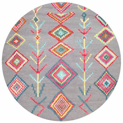 Dayne Hand-Tufted Gray Area Rug Rug Size: Round 6