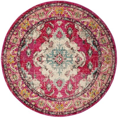 Elston Pink Area Rug Rug Size: Round 67