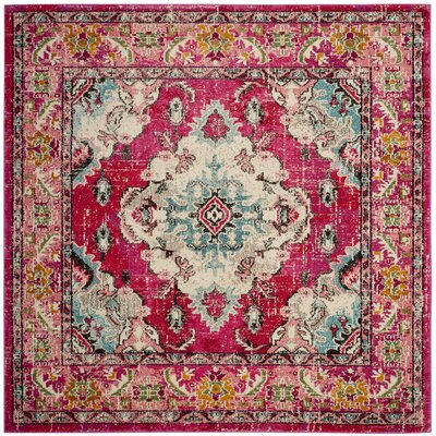 Elston Pink Area Rug Rug Size: Square 67