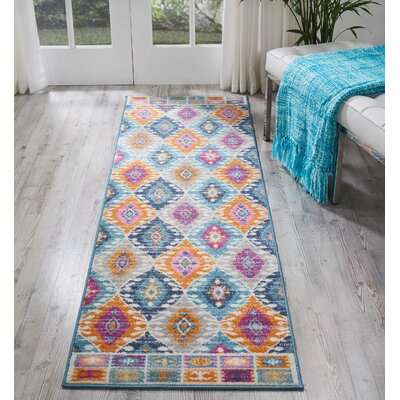 Parsons Pink/Blue Indoor Area Rug Rug Size: Runner 22 x 76