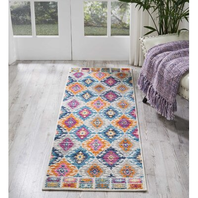 Parsons Pink/Blue Indoor Area Rug Rug Size: Runner 11 x 6