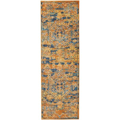 Shez Teal/Sun Indoor Area Rug Rug Size: Runner 11 x 6