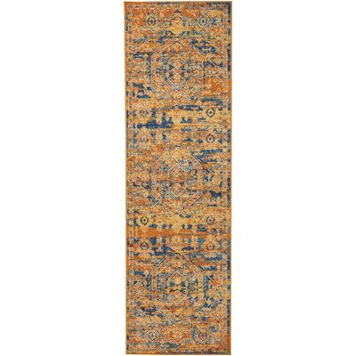 Shez Teal/Sun Indoor Area Rug Rug Size: Runner 22 x 76