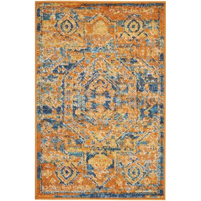 Shez Teal/Sun Indoor Area Rug Rug Size: 110 x 210
