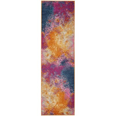 Parsons Pink/Yellow Indoor Area Rug Rug Size: Runner 22 x 76