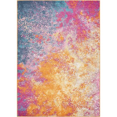 Parsons Pink/Yellow Indoor Area Rug Rug Size: Rectangle 53 x 73