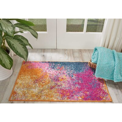 Parsons Pink/Yellow Indoor Area Rug Rug Size: Rectangle 39 x 59