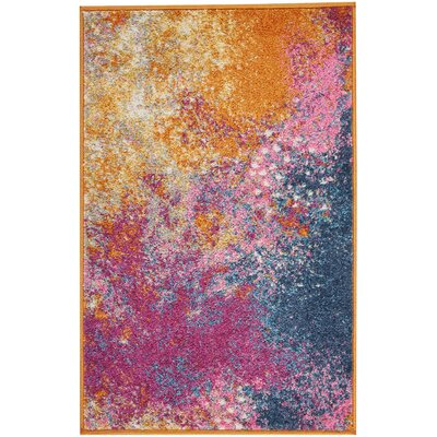 Parsons Pink/Yellow Indoor Area Rug Rug Size: Rectangle 110 x 210