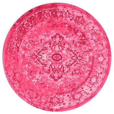 Decker Pink Area Rug Rug Size: Round 5