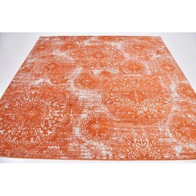 Brandt Orange Area Rug Rug Size: Square 8