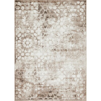 Brandt Brown/Cream Area Rug Rug Size: Rectangle 7 x 10