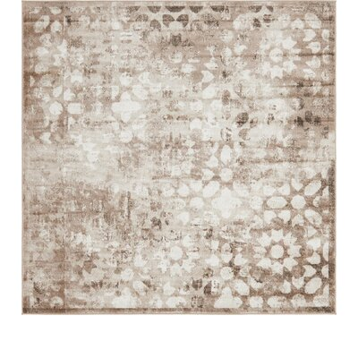 Brandt Brown/Cream Area Rug Rug Size: Square 8'