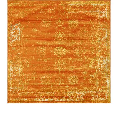 Brandt Orange Area Rug Rug Size: Square 8