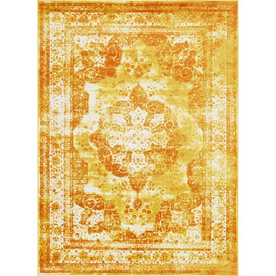 Brandt Yellow/Orange Area Rug Rug Size: Rectangle 7 x 10