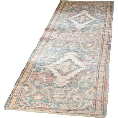 Myers Hand-Loomed Turquoise/Peach Area Rug Rug Size: Runner 23 x 8