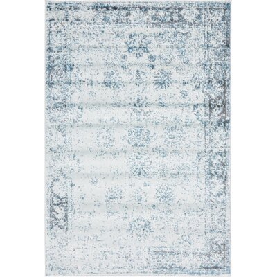 Brandt Light Blue/Ivory Area Rug Rug Size: Rectangle 4 x 6