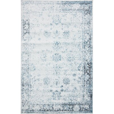 Brandt Light Blue/Ivory Area Rug Rug Size: Rectangle 5 x 8