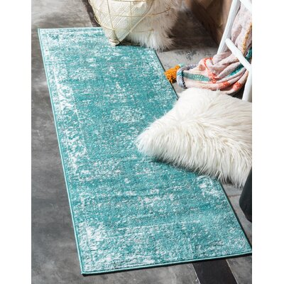 Brandt Turquoise / White Area Rug Rug Size: Runner 2 x 67